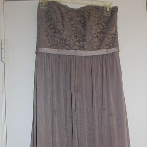 Short, gray/taupe, strapless dress